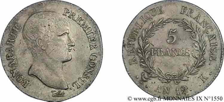 N° v09_1550 5 francs Bonaparte premier Consul - An 12