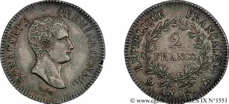 N° v09_1551 2 francs Bonaparte premier Consul - An 12