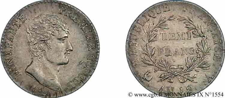 N° v09_1554 Demi-franc Bonaparte premier Consul - An 12