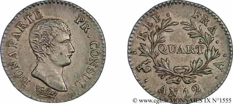 N° v09_1555 Quart de franc Bonaparte premier Consul - An 12