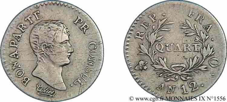 N° v09_1556 Quart de franc Bonaparte premier Consul - An 12