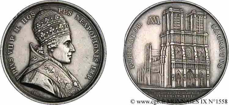 N° v09_1558 Médaille AR 41, sacre de Napoléon Ier par Pie VII - An XIII