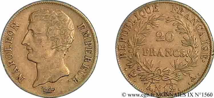 N° v09_1560 20 Francs or, Napoléon empereur buste intermédiaire - An 12