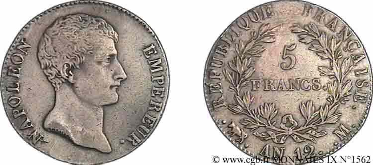 N° v09_1562 5 francs Napoléon empereur, type intermédiaire - an 12