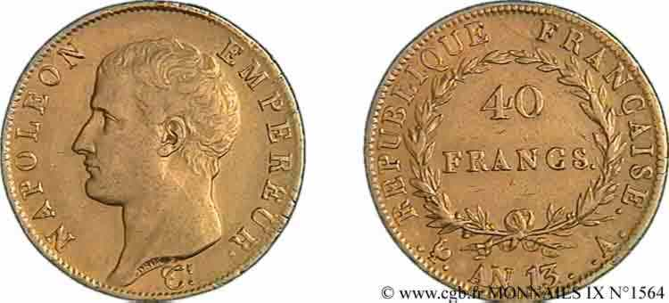 N° v09_1564 40 Francs or, Napoléon tête nue, calendrier révolutionnaire - An 13