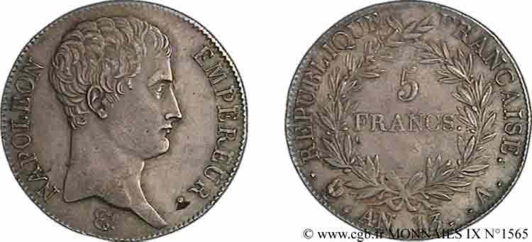 N° v09_1565 5 francs Napoléon empereur, calendrier révolutionnaire - An 13