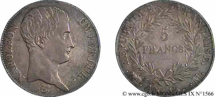 N° v09_1566 5 francs Napoléon empereur, calendrier révolutionnaire - An 13
