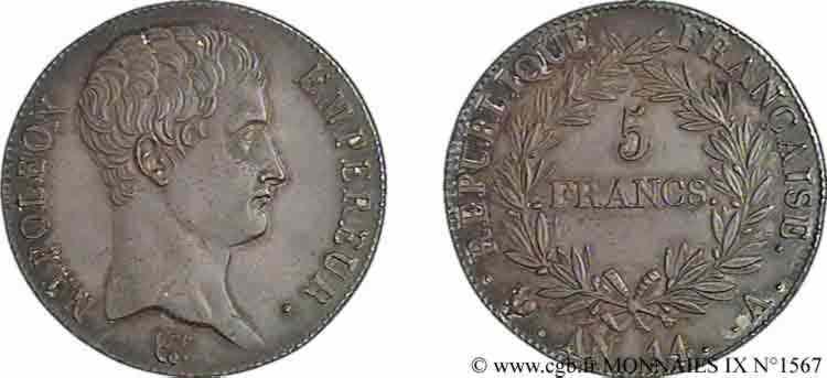 N° v09_1567 5 francs Napoléon empereur calendrier révolutionnaire - An 14