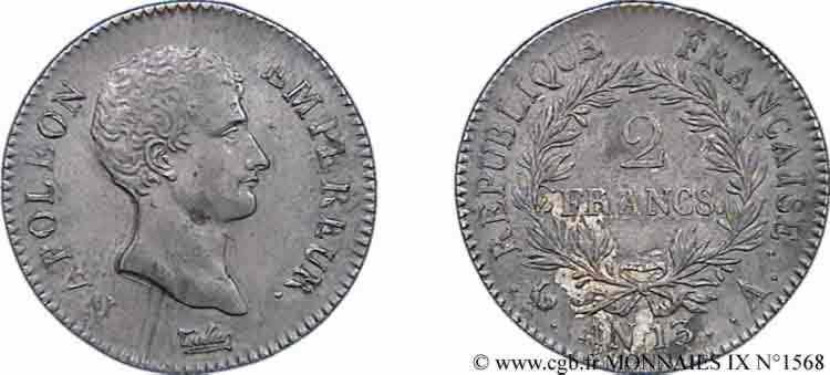 N° v09_1568 2 francs Napoléon empereur, calendrier révolutionnaire - an 13
