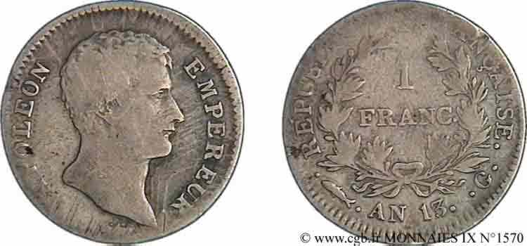N° v09_1570 1 franc Napoléon Empereur, calendrier révolutionnaire - An 13