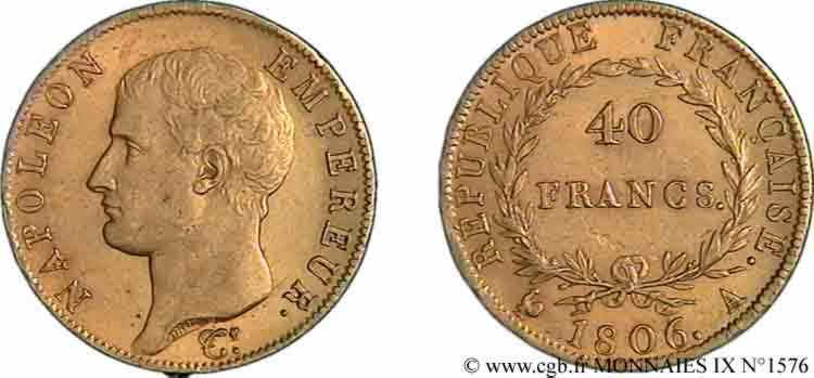 N° v09_1576 40 francs or Napoléon tête nue, calendrier grégorien - 1806