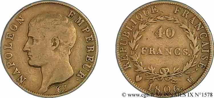 N° v09_1578 40 Francs or Napoléon tête nue, calendrier grégorien - 1806