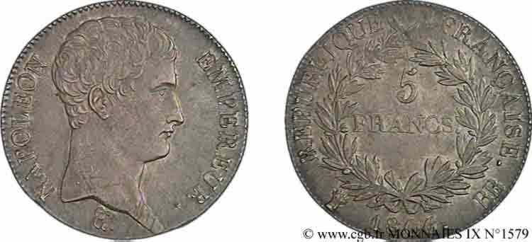 N° v09_1579 5 francs Napoléon empereur, calendrier grégorien - 1806