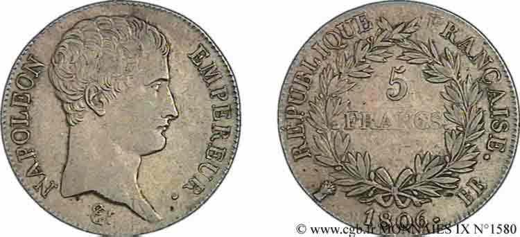N° v09_1580 5 francs Napoléon empereur, calendrier grégorien - 1806