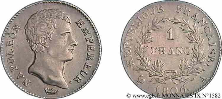 N° v09_1582 1 franc Napoléon empereur, calendrier grégorien - 1806