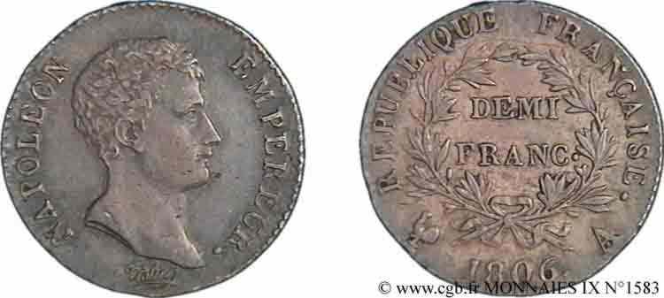 N° v09_1583 Demi-franc Napoléon empereur, calendrier grégorien - 1806