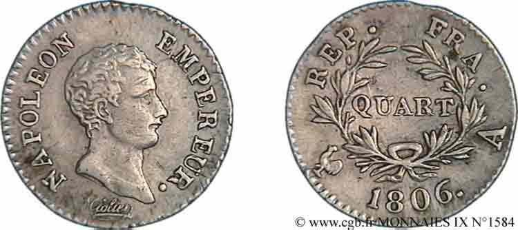 N° v09_1584 Quart de franc Napoléon empereur calendrier grégorien - 1806