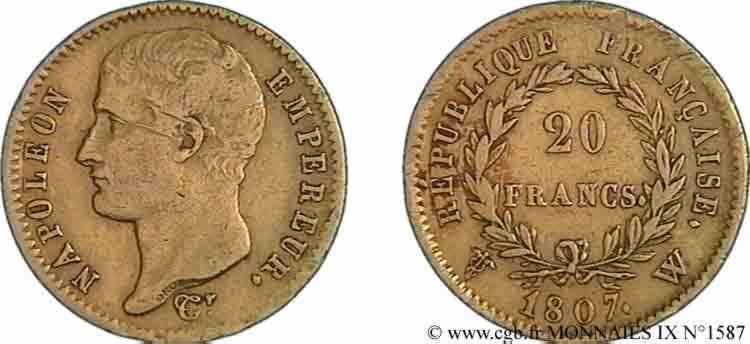N° v09_1587 20 francs Napoléon tête nue, type transitoire - 1807