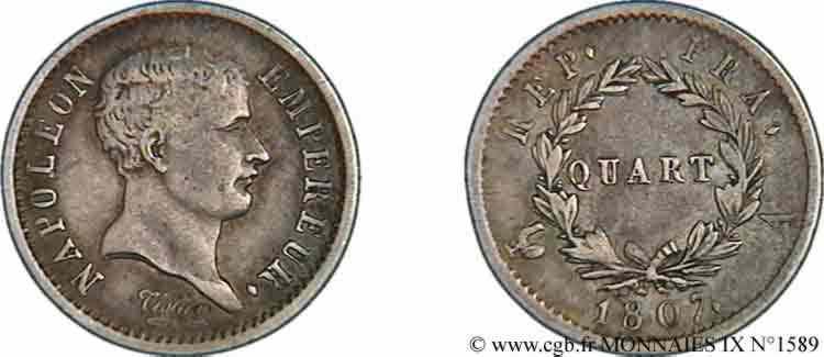 N° v09_1589 Quart de franc Napoléon Ier, tête de nègre - 1807