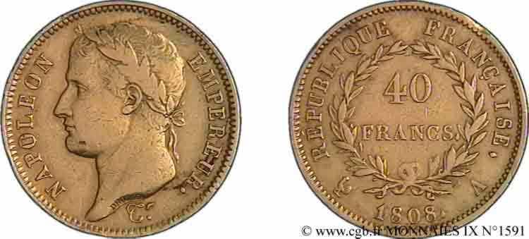 N° v09_1591 40 francs Napoléon Ier tête laurée, République française - 1808