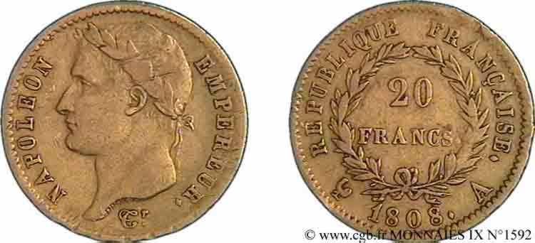 N° v09_1592 20 francs Napoléon tête laurée, République française - 1808