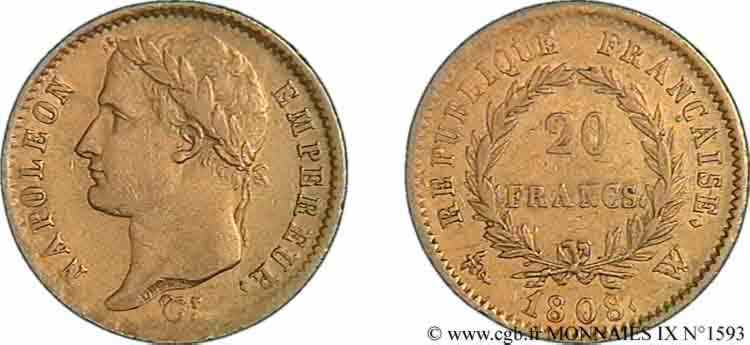 N° v09_1593 20 francs Napoléon tête laurée, République française - 1808