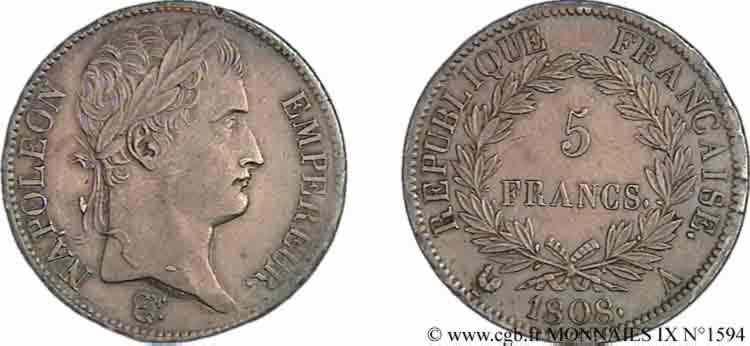 N° v09_1594 5 francs Napoléon empereur, République française - 1808