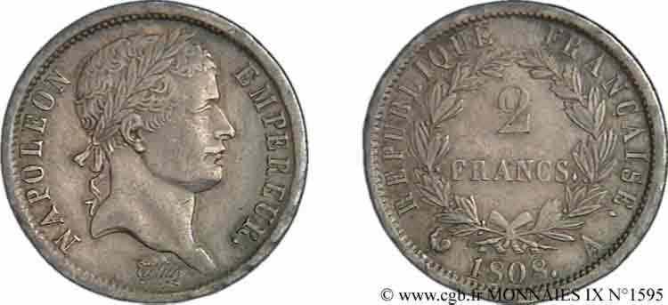N° v09_1595 2 francs Napoléon Ier tête laurée, République française - 1808