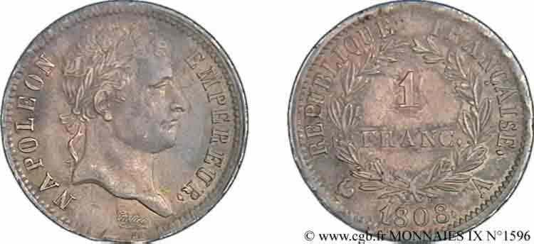 N° v09_1596 1 franc Napoléon Ier tête laurée, République française - 1808