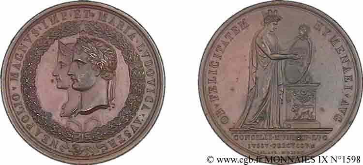 N° v09_1598 Médaille BR 48, la ville de Lyon en l'honneur du mariage de Napoléon Ier et de Marie-Louise - 1810