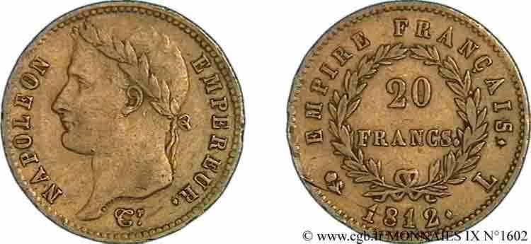 N° v09_1602 20 francs or Napoléon tête laurée, Empire français - 1812