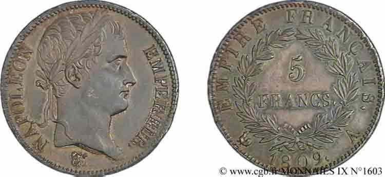 N° v09_1603 5 Francs Napoléon empereur, Empire français - 1809