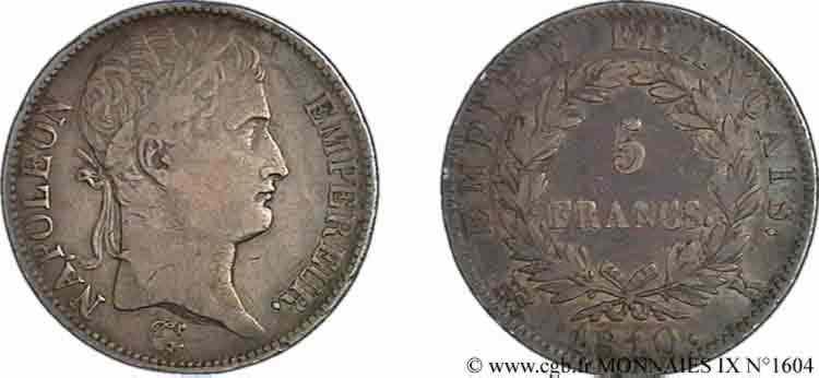 N° v09_1604 5 Francs Napoléon empereur, Empire français - 1810