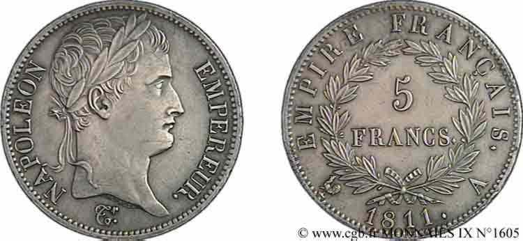 N° v09_1605 5 francs Napoléon empereur, Empire français - 1811