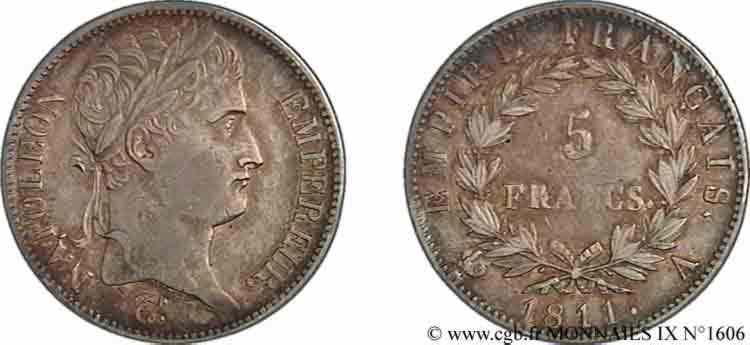 N° v09_1606 5 francs Napoléon empereur, Empire français - 1811