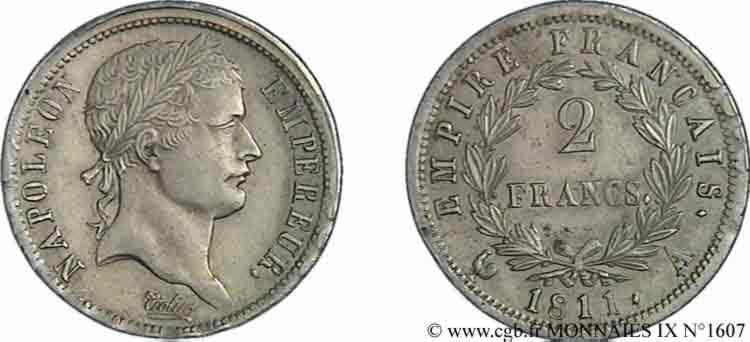 N° v09_1607 2 francs Napoléon Ier tête laurée, Empire français - 1811