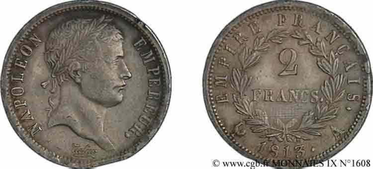N° v09_1608 2 francs Napoléon Ier tête laurée, Empire français - 1813