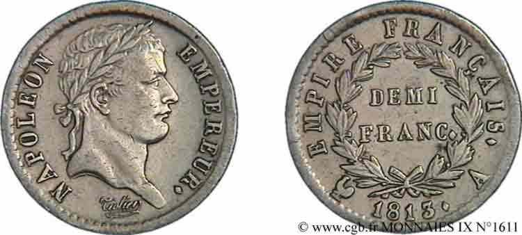 N° v09_1611 Demi-franc Napoléon Ier, tête laurée, Empire français - 1813