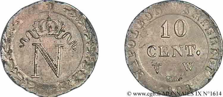 N° v09_1614 10 centimes, N couronnée - 1808