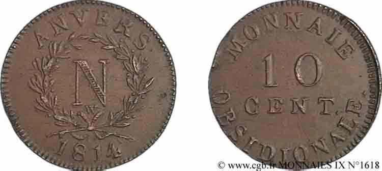 N° v09_1618 10 centimes siège d'Anvers - 1814