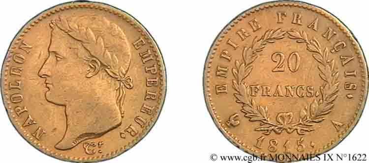N° v09_1622 20 francs Napoléon tête laurée, Empire français - 1815