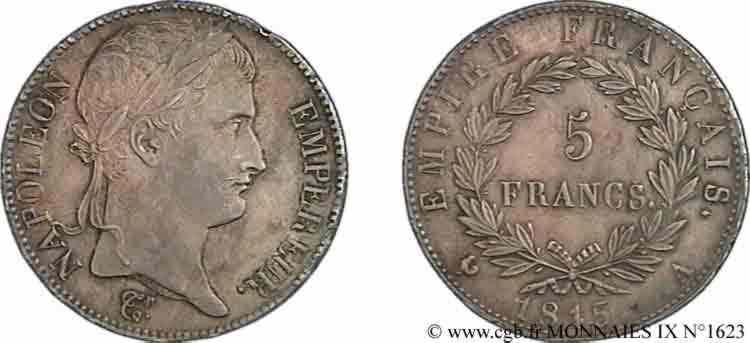 N° v09_1623 5 francs Napoléon empereur, Empire français - 1815