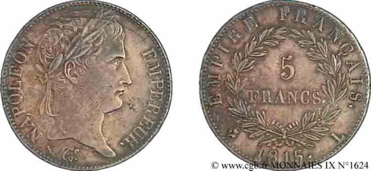N° v09_1624 5 francs Napoléon empereur, Empire français - 1815