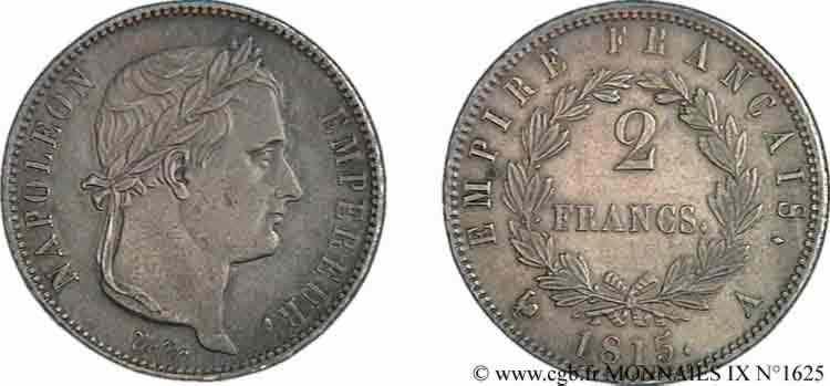 N° v09_1625 2 francs Cent-Jours - 1815