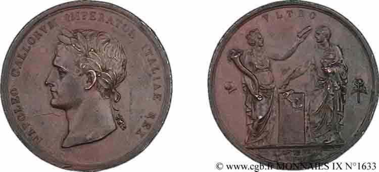 N° v09_1633 Médaille, BR 42, Napoléon Ier couronné roi d'Italie - 1805