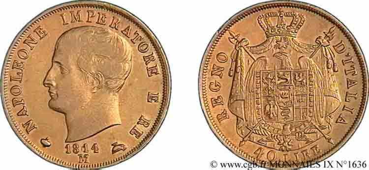 N° v09_1636 40 lires en or 2er type - 1814/180 ?
