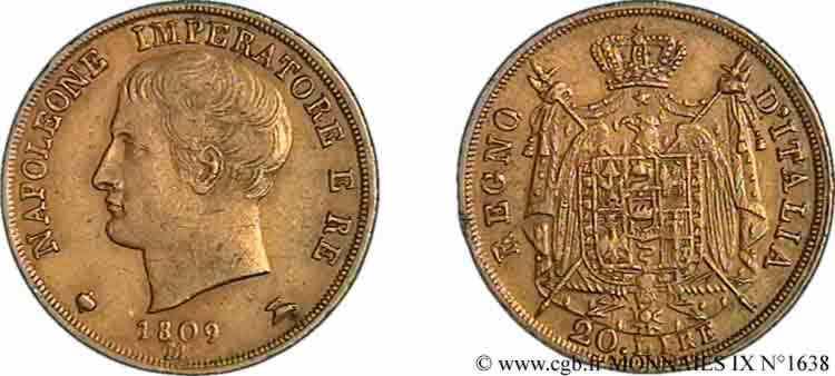 N° v09_1638 20 lires en or 2e type - 1809