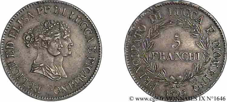 N° v09_1646 5 franchi, petits bustes - 1805