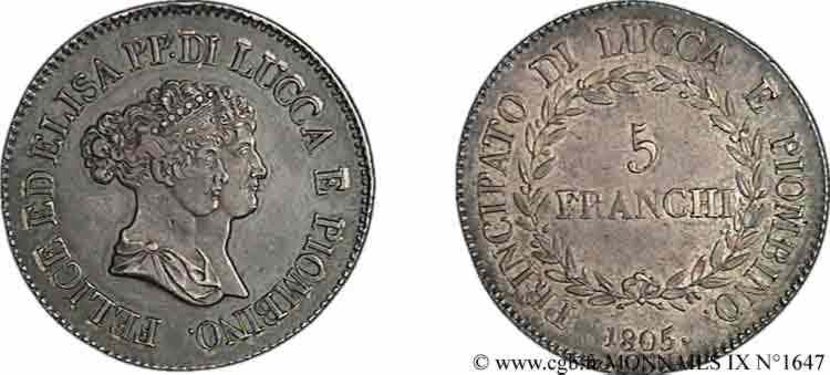 N° v09_1647 5 franchi, bustes moyens - 1805