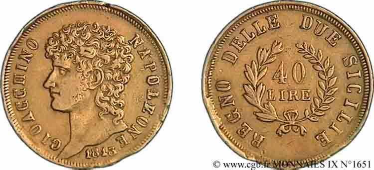 N° v09_1651 40 lires en or, rameaux courts - 1813
